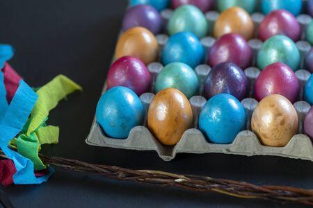 Easter background with hand painted purple, blue, green, orange Reklamní fotografie