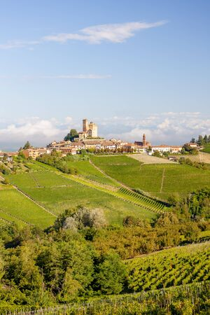 View of the village of Serralunga d`Alba and the wonderful Langa, italy