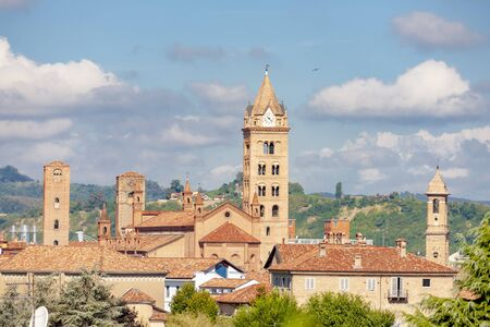 medieval towers in Old City of Alba in Piedmont, Italy