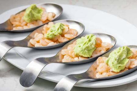 shrimp salad with paste of ripe avocado 写真素材
