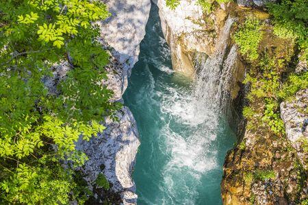 Waterfall to rriver Soca, Velika korita Soce, Triglavski national park, Slovenia Zdjęcie Seryjne