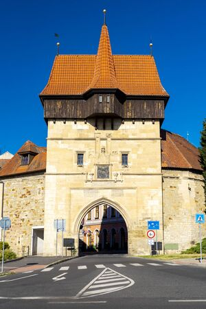 Gothic Zatec gate and medieval fortification in Louny, Czech republic
