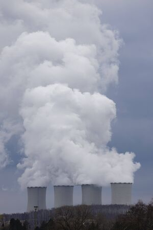 smoking chimney, power plant in Czech Republic 스톡 콘텐츠