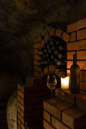 Wine cellar with archival wine, Znojmo region, Southern Moravia, Czech Republic