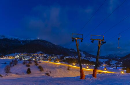 evening skiing in the ski center Donovaly Slovakia Imagens