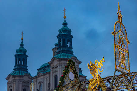 Christmas decoration on Old Town Square in Prague Czech Republic