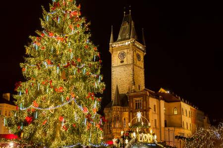 Prague Old Town Square - Christmas market, Czech Republic Фото со стока
