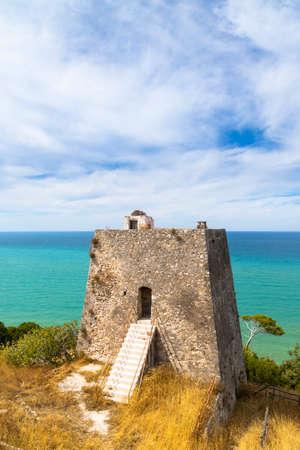 Torre di Monte Pucci near Baia Calenella beach, Vico del Gargano, Foggia, Italy 写真素材