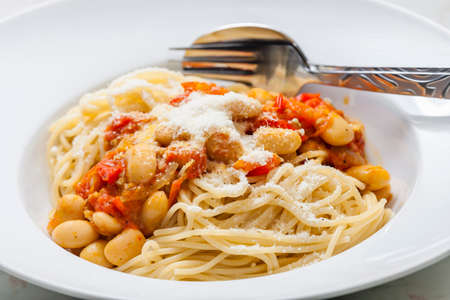spaghetti with tomato sauce and beans 写真素材