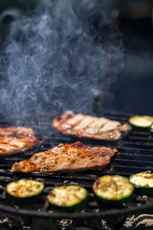 pork and zucchini, garden grill with charcoal