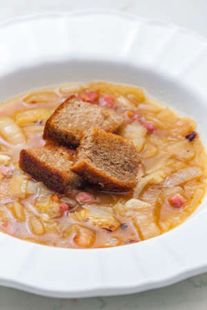 onion soup with roasted bread