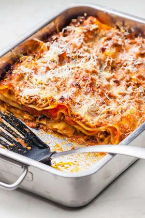 still life of lasagne bolognese 写真素材