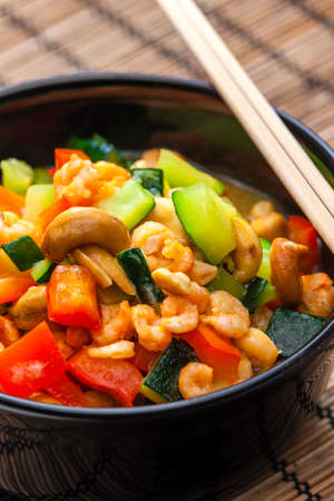 cooked vegetables salad with shrimps and cashew nuts 写真素材