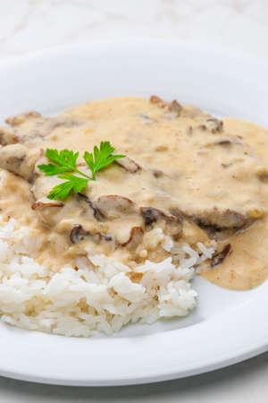creamy mushroom sauce with beef meat