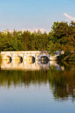 Old stone bridge over Vitek pond, Nova Hlina near Trebon, Jindrichuv Hradec district, Southern Bohemian, Czech Republic