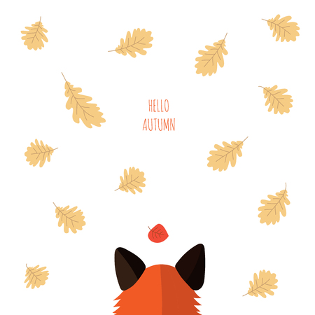 red Fox looks at falling oak leaves. autumn forest. text hello autumn. Vectores