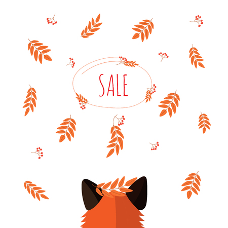 red Fox looks at falling berries and leaves of mountain ash. leaf fall in the forest. text sale. Ilustracja