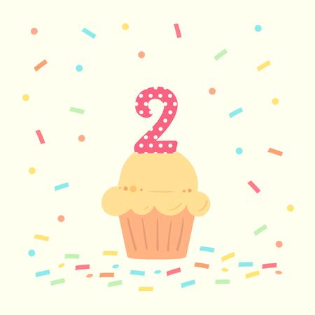 buon secondo compleanno card con cupcake e numero due in stile design piatto, illustrazione vettoriale. Vettoriali