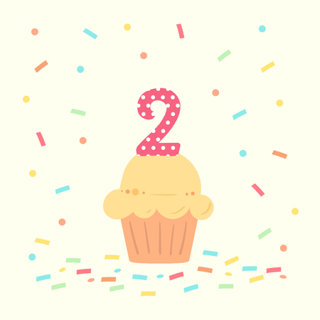 happy second birthday card with cupcake and number two in flat design style, vector illustration.