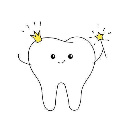 fée des dents avec couronne et baguette magique. carte pour enfants mignons. minimal.