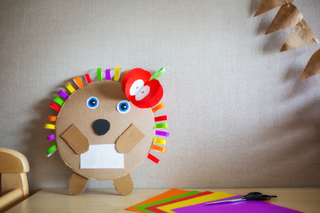 creative childrens crafts made of colored paper and cardboard. diy 写真素材