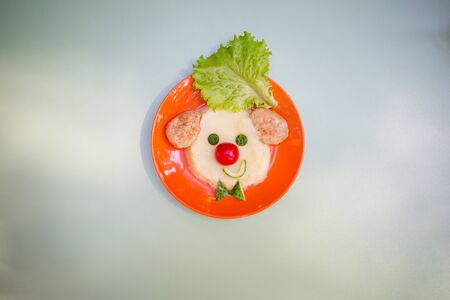 Fun food idea for kids. childrens lunch: funny clown or a dog of mashed potatoes and meatballs on the orange plate. creative supper for baby. Banco de Imagens