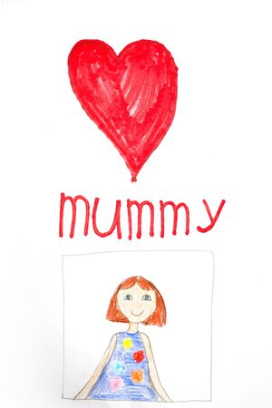 postcard made by a child. drawing mom for mothers day. kids creativity. Banco de Imagens
