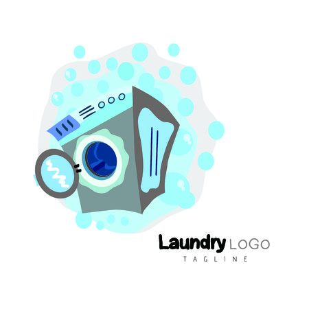 bleached: Laundry logo template design