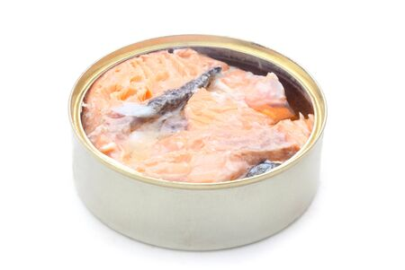 Tinned Salmon Isolated On White Foto de archivo