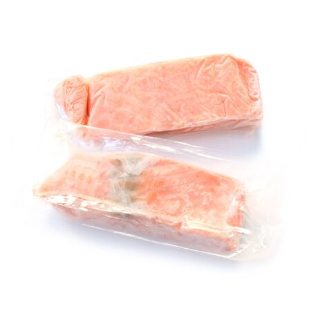 Two Packaged Frozen Salmon Fillets Isolated On White