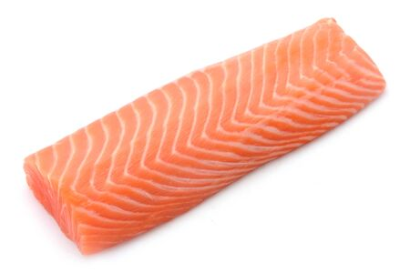 Raw Salmon Filet Isolated On White Standard-Bild - 129699662