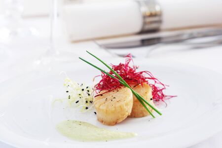 Appetizer With Scallops On A White Plate