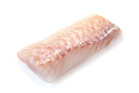 Raw Fillet On Cod Isolated On White 版權商用圖片
