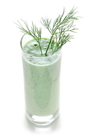 Green Smoothie In A Glass Isolated On White
