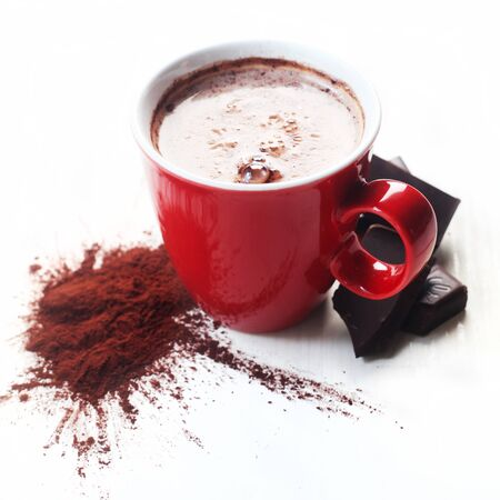 Hot Chocolate In A Red Cup Isolated On White