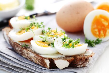A Slice Of Bread With Boiled Egg Stock Photo