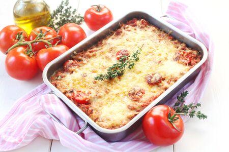 Lasagna In An Oven Dish Foto de archivo