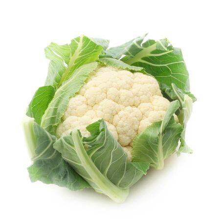 Raw Cauliflower Isolated On White Banco de Imagens