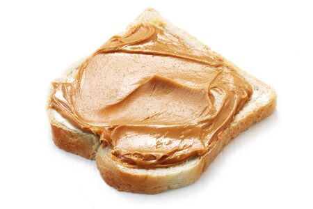 Peanut Butter On White Bread Isolated On White