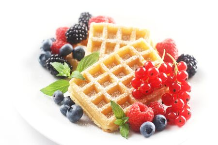 Dessert with Dusted Waffles and Mixed Berries