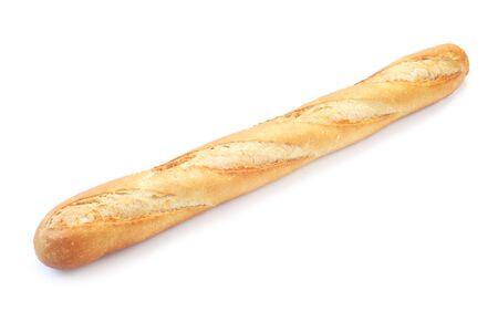 Pain de baguette entier isolé sur blanc
