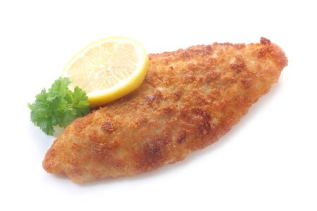 Crumbed Fried Fish Fillet Isolated On White