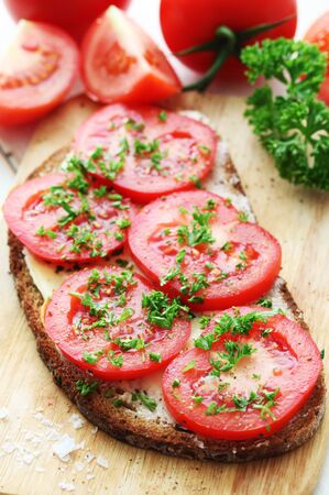 Whole Grain Bread With Sliced Tomatoes