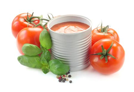 Tomato Soup In A Can Isolated On White