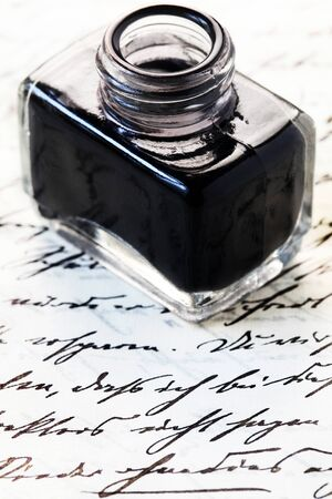 Inkwell With Black Ink On Black Handwriting Stok Fotoğraf
