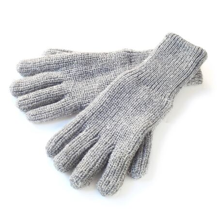 Grey Woolen Gloves Isolated On White