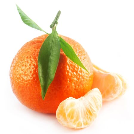 Tangerine With Segments Islateed On White Banco de Imagens