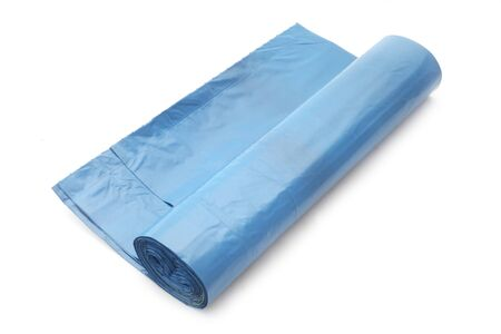 A Roll Of Blue Bin Bags Isolated On White