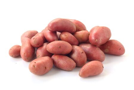 Raw Red Potatoes Isolated On White