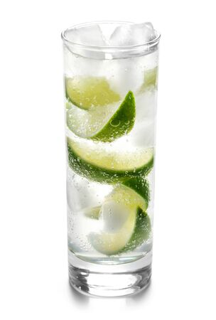 Sparkling Water With Ice And Limes Isolated On White Banque d'images - 131853725